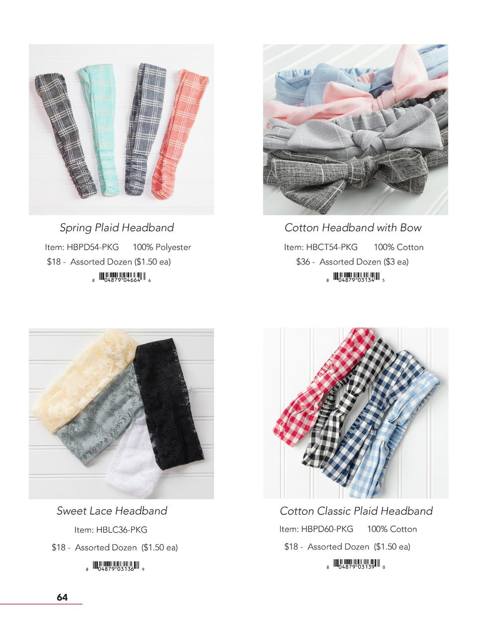 Spring Plaid Headband Item  HBPD54-PKG  100  Polyester   18 - Assorted Dozen   1.50 ea     xiAEIHJy04664qzZ  Sweet Lace He...
