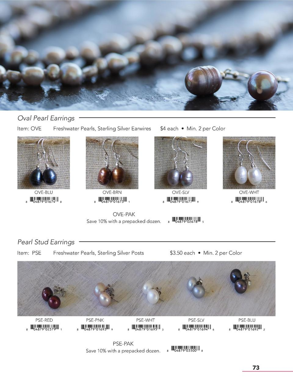 Oval Pearl Earrings Item  OVE  Freshwater Pearls, Sterling Silver Earwires   4 each     Min. 2 per Color  OVE-BLU  OVE-BRN...