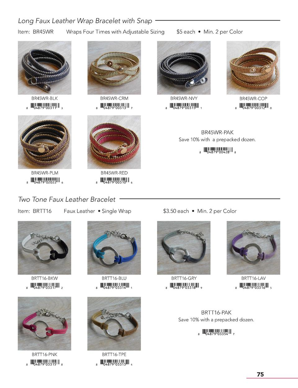 Long Faux Leather Wrap Bracelet with Snap Item  BR45WR  Wraps Four Times with Adjustable Sizing   5 each     Min. 2 per Co...
