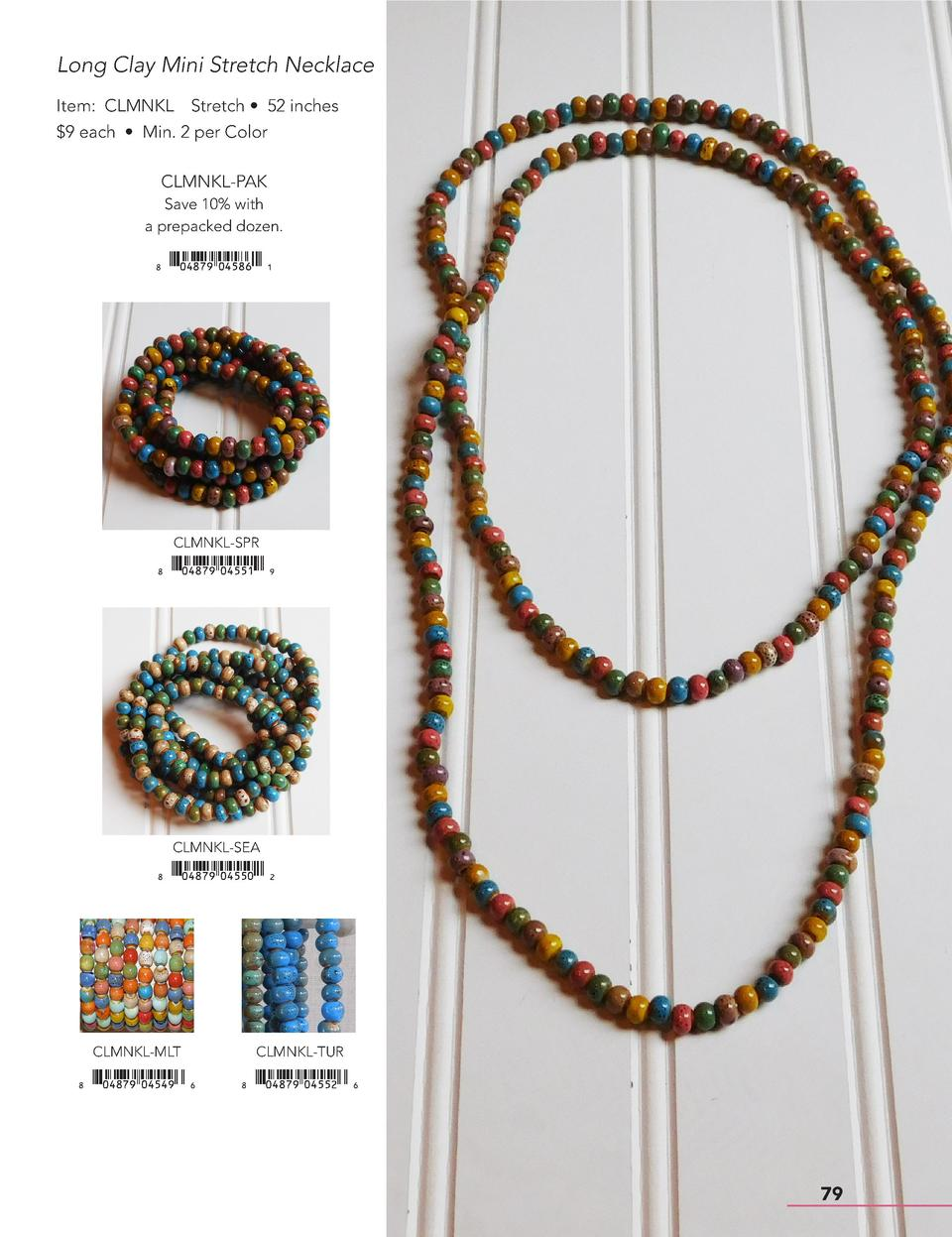 Long Clay Mini Stretch Necklace Item  CLMNKL Stretch     52 inches  9 each     Min. 2 per Color CLMNKL-PAK Save 10  with a...