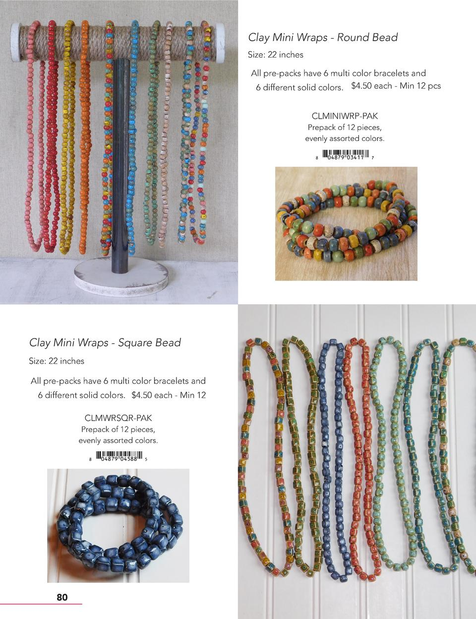 Clay Mini Wraps - Round Bead Size  22 inches All pre-packs have 6 multi color bracelets and 6 different solid colors.  4.5...