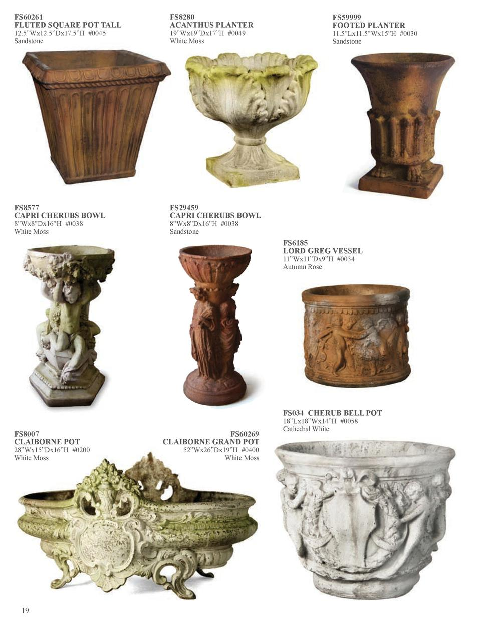 FS60261 FLUTED SQUARE POT TALL  FS8280 ACANTHUS PLANTER  FS8577 CAPRI CHERUBS BOWL  FS29459 CAPRI CHERUBS BOWL  12.5   Wx1...