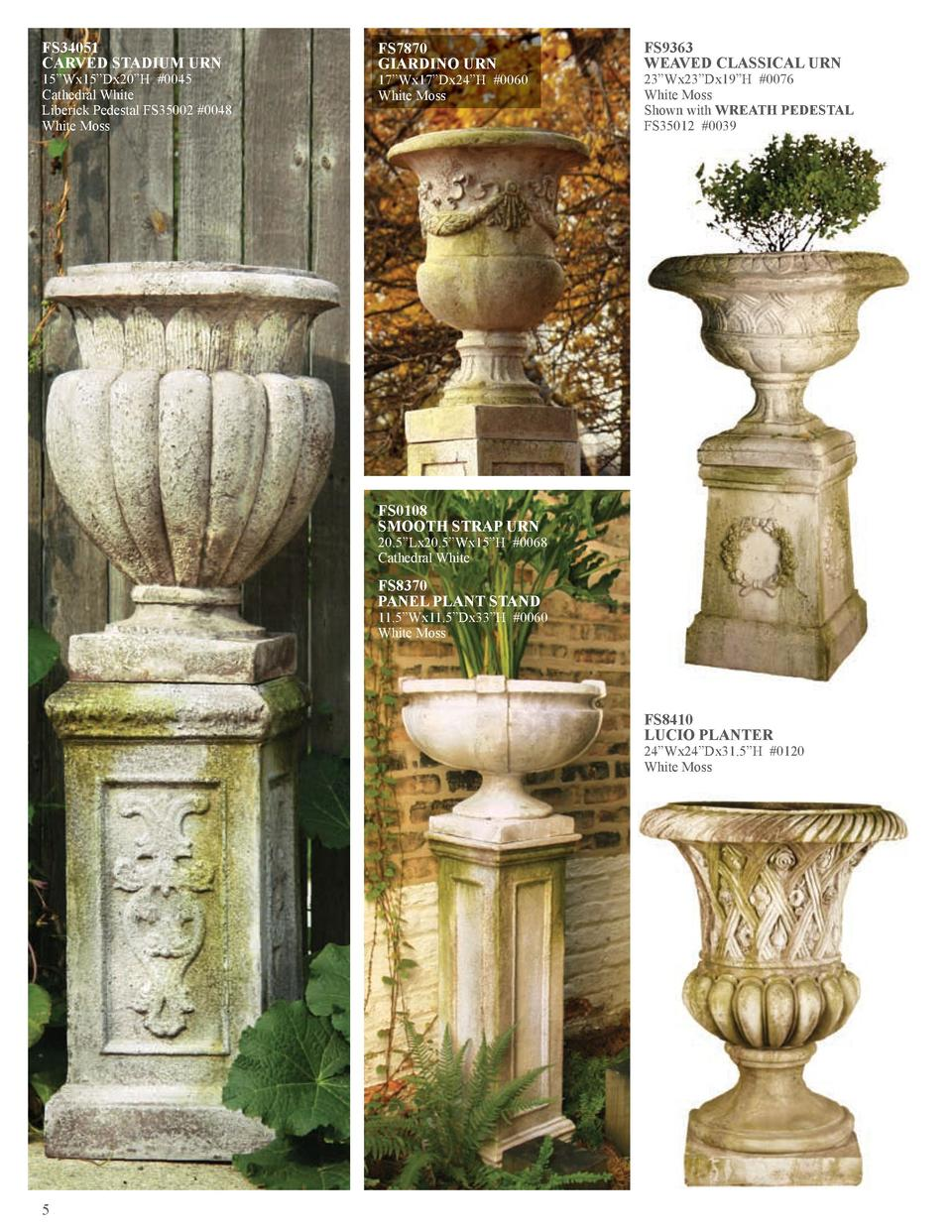 FS34051 CARVED STADIUM URN  15   Wx15   Dx20   H  0045 Cathedral White Liberick Pedestal FS35002  0048 White Moss  FS7870 ...