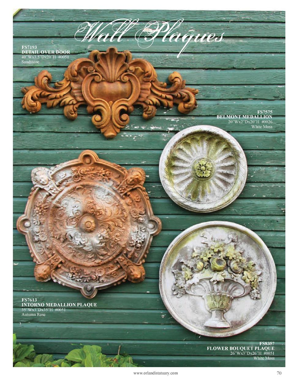 FS7193 DETAIL OVER DOOR 40   Wx3.5   Dx20   H  0051 Sandstone  Wall Plaques FS7575 BELMONT MEDALLION  20   Wx2   Dx20   H ...
