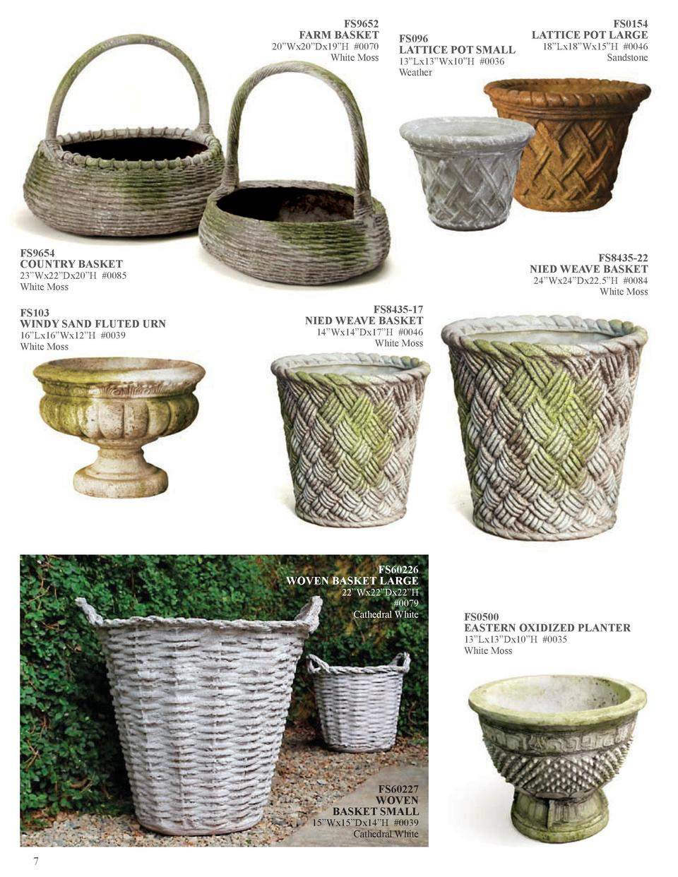 FS9652 FARM BASKET  20   Wx20   Dx19   H  0070 White Moss  FS096 LATTICE POT SMALL 13   Lx13   Wx10   H  0036 Weather  FS9...