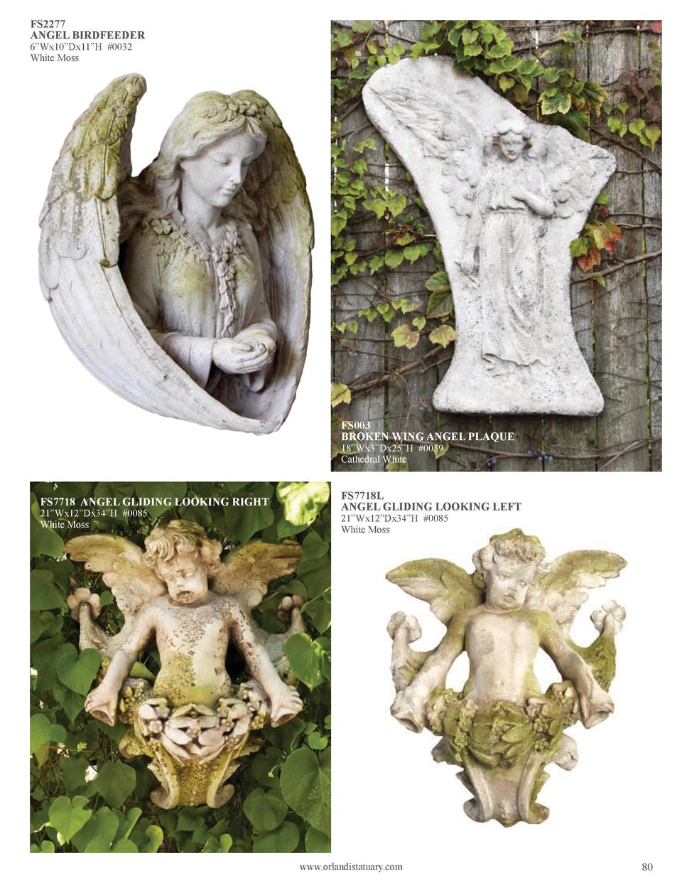 FS2277 ANGEL BIRDFEEDER 6   Wx10   Dx11   H  0032 White Moss  FS003 BROKEN WING ANGEL PLAQUE 18   Wx3   Dx25   H  0039 Cat...