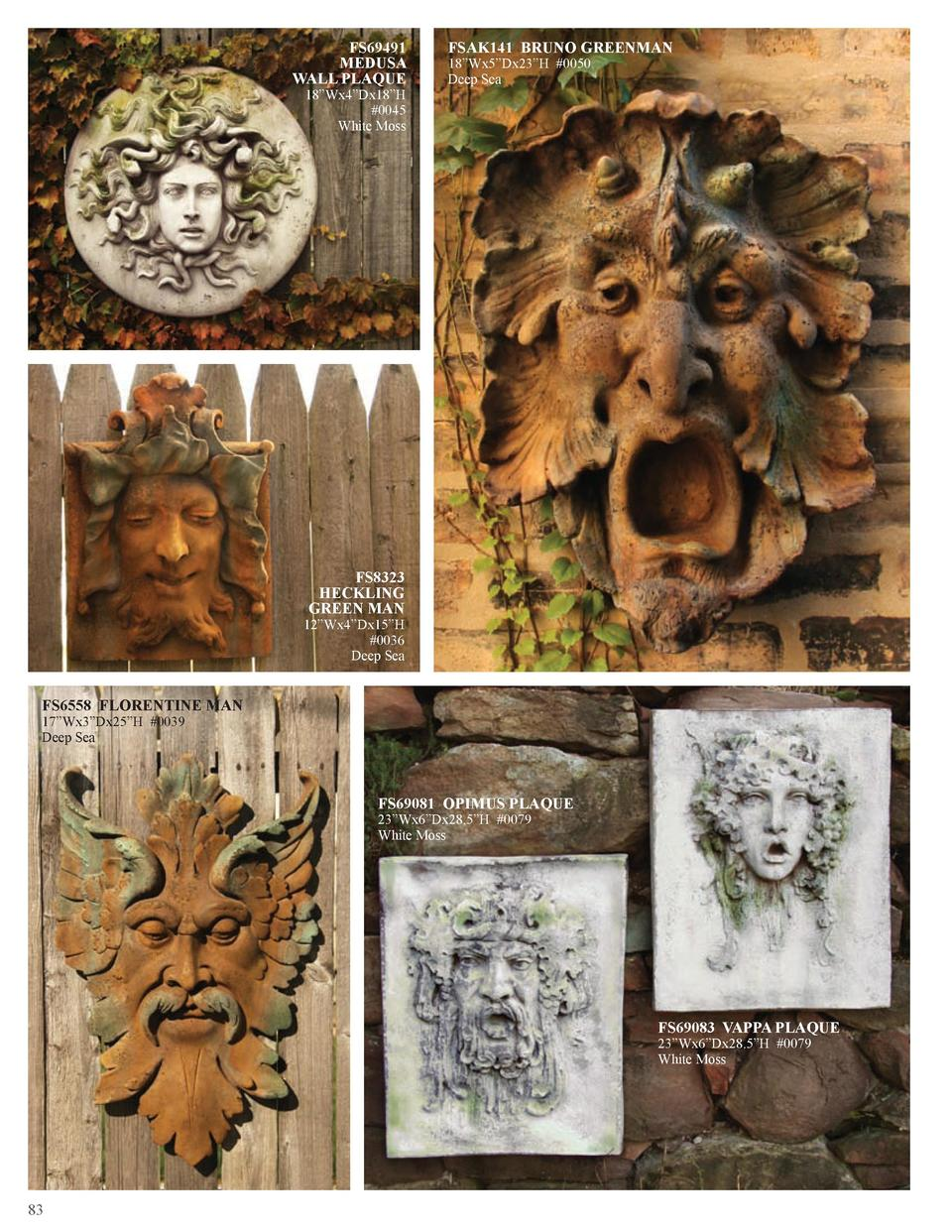 FS69491 MEDUSA WALL PLAQUE 18   Wx4   Dx18   H  0045 White Moss  FSAK141 BRUNO GREENMAN 18   Wx5   Dx23   H  0050 Deep Sea...