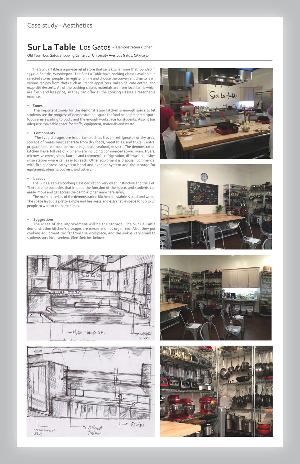 Case study - Aesthetics  Sur La Table Los Gatos - Demonstration kitchen Old Town Los Gatos Shopping Center, 23 University ...