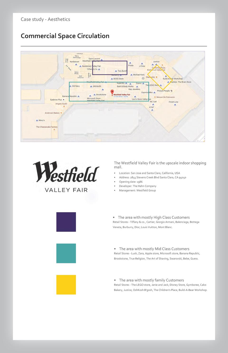 Case study - Aesthetics  Commercial Space Circulation  The Westfield Valley Fair is the upscale indoor shopping mall.     ...