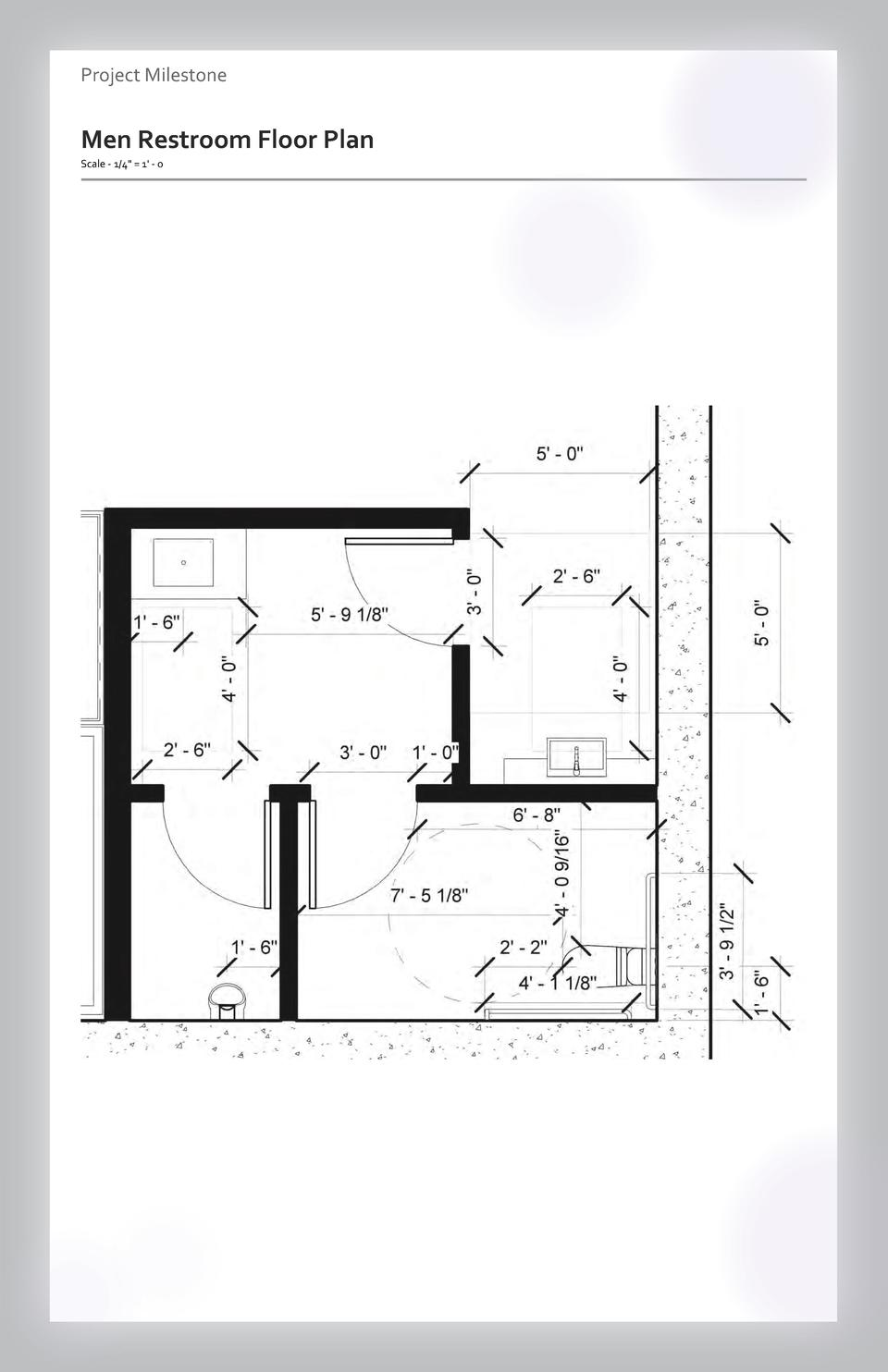 Case study Project Milestone - Aesthetics  Commercial Men Restroom Space Floor Wayfinding Plan Westfield Scale - 1 4 Valle...