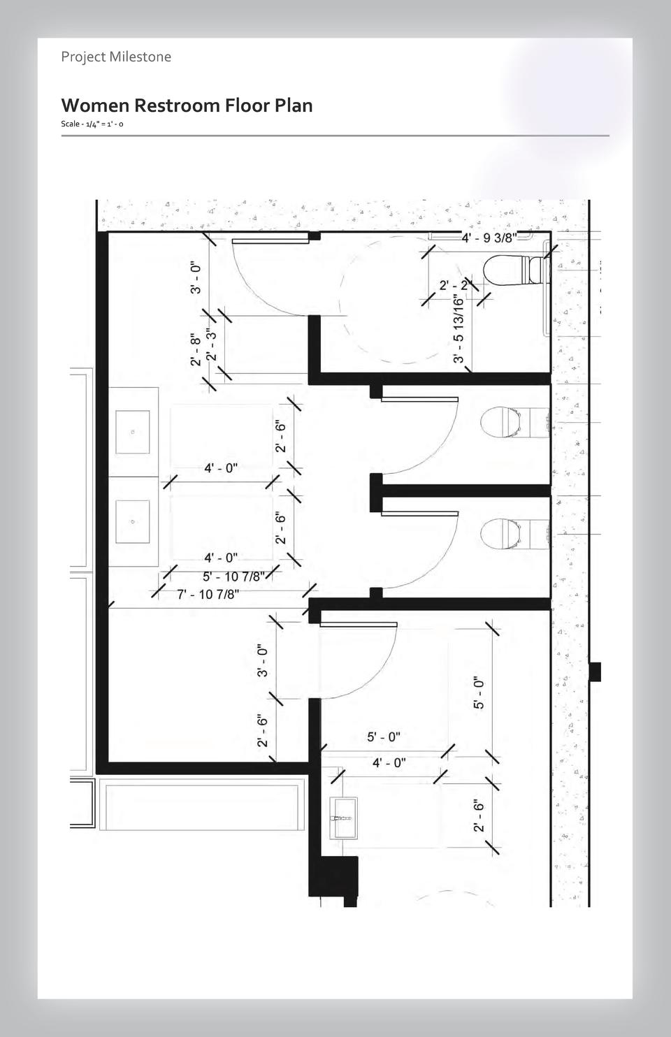 Case study Project Milestone - Aesthetics  Commercial Women Restroom Space Floor Wayfinding Plan Westfield Scale - 1 4 Val...