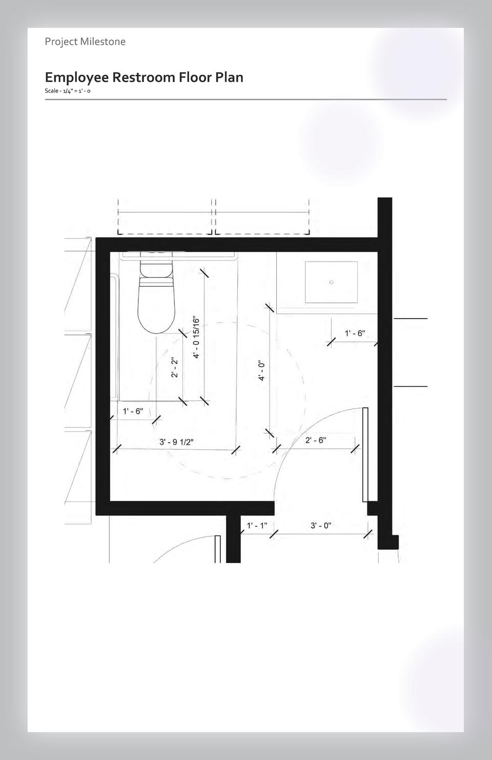 Case study Project Milestone - Aesthetics  Commercial Employee Restroom Space Wayfinding Floor Plan Westfield Scale - 1 4 ...