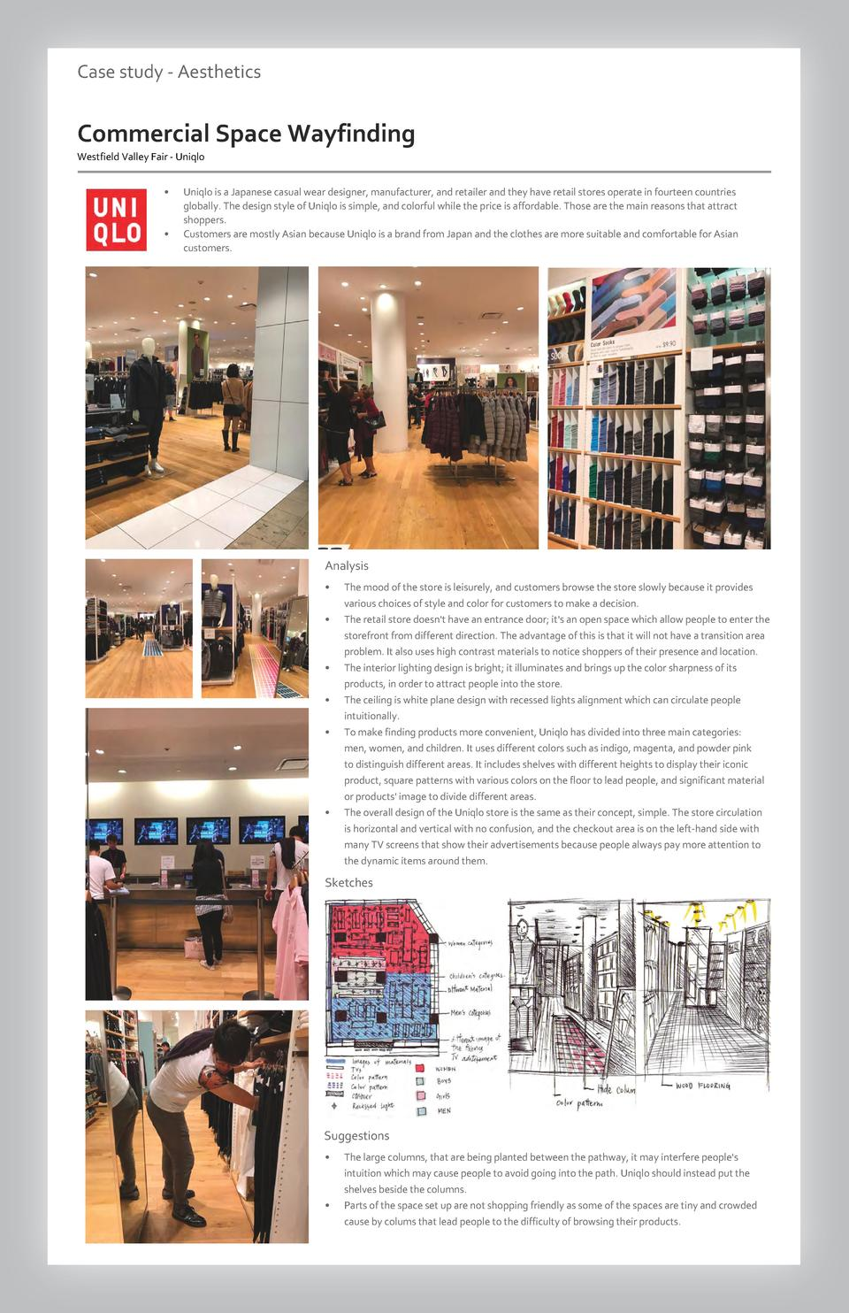 Case study - Aesthetics  Commercial Space Wayfinding Westfield Valley Fair - Uniqlo             Uniqlo is a Japanese casua...