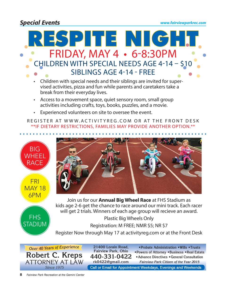 Special Events  www.fairviewparkrec.com  RESPITE NIGHT FRIDAY, MAY 4     6-8 30PM  CHILDREN WITH SPECIAL NEEDS AGE 4-14   ...