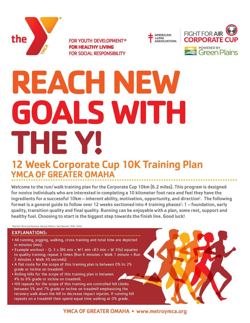 REACH NEW GOALS WITH THE Y   12 Week Corporate Cup 10K Training Plan YMCA OF GREATER OMAHA  Welcome to the run  walk train...