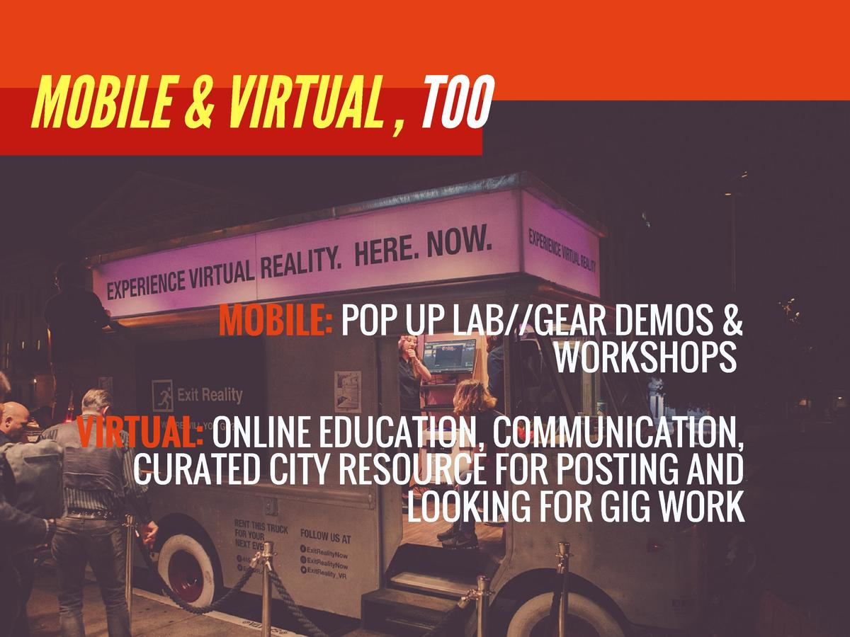 MOBILE   VIRTUAL , TOO  MOBILE  POP UP LAB  GEAR DEMOS   WORKSHOPS   VIRTUAL  ONLINE EDUCATION, COMMUNICATION, CURATED CIT...