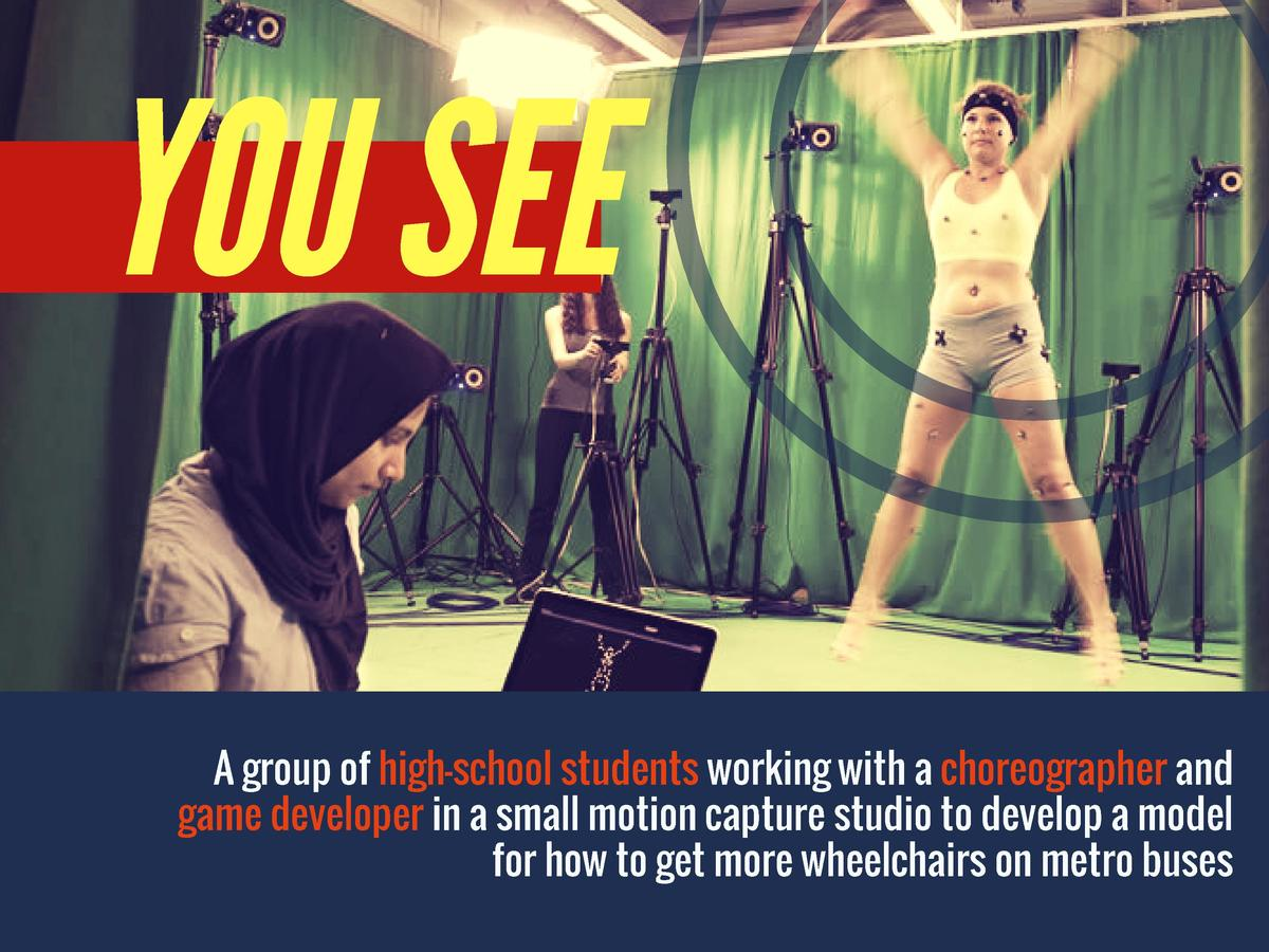 YOU SEE  A group of high-school students working with a choreographer and game developer in a small motion capture studio ...