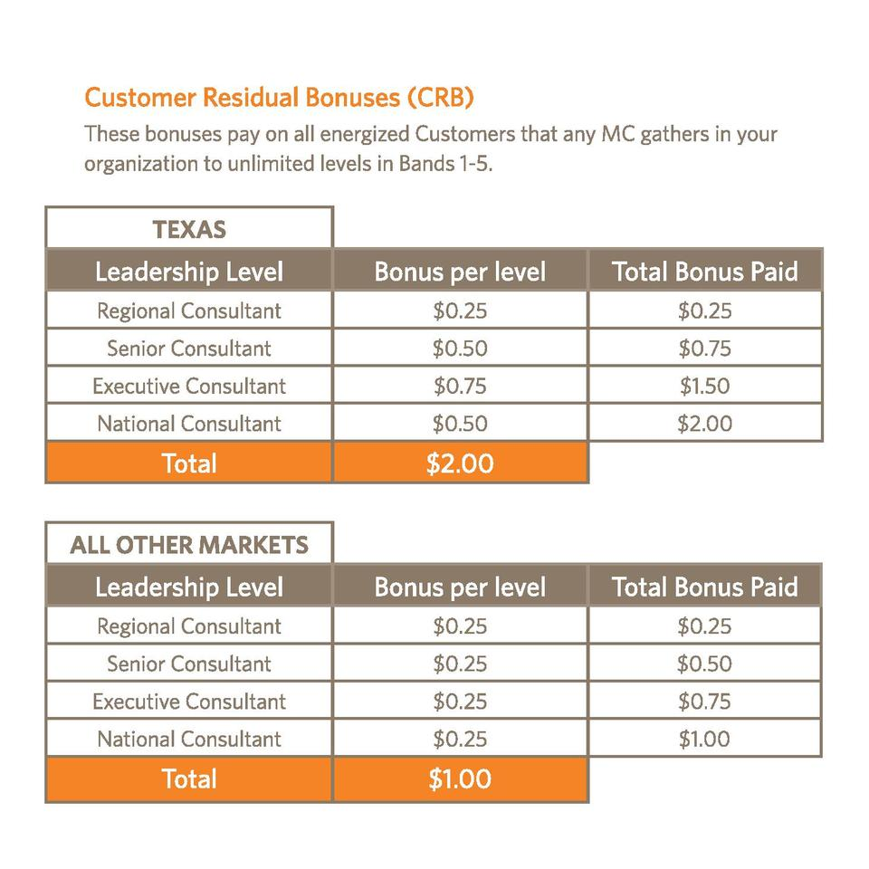 TEXAS  Leadership Level  Bonus per level  Total Bonus Paid  Regional Consultant   0.25   0.25  Senior Consultant   0.50   ...