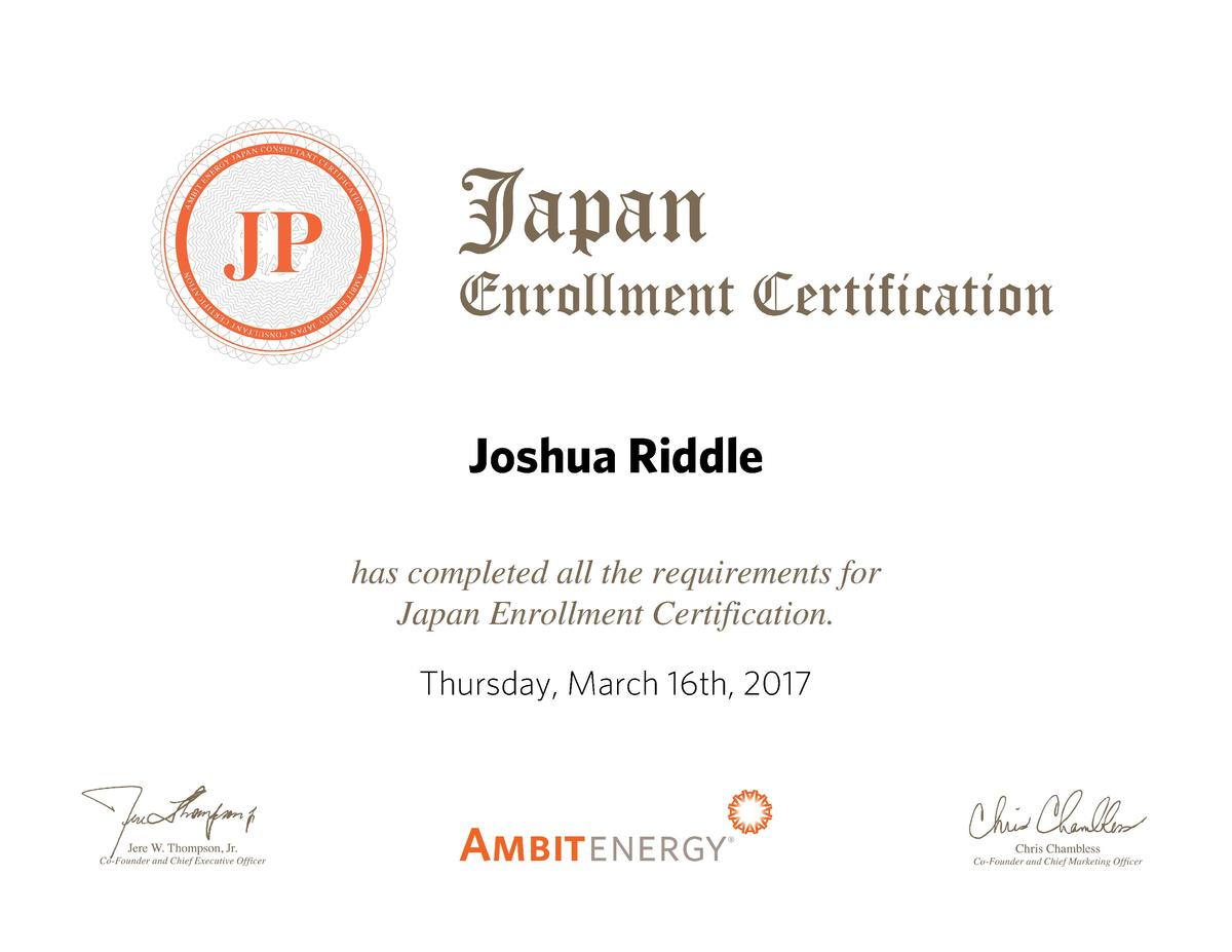 Joshua Riddle has completed all the requirements for Japan Enrollment Certification. Thursday, March 16th, 2017