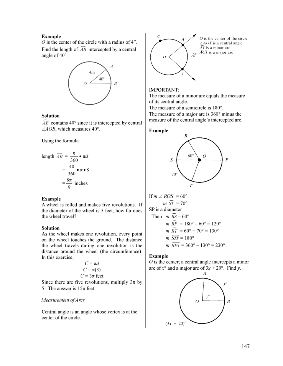 Example O is the center of the circle with a radius of 4   . Find the length of     AB intercepted by a central angle of 4...