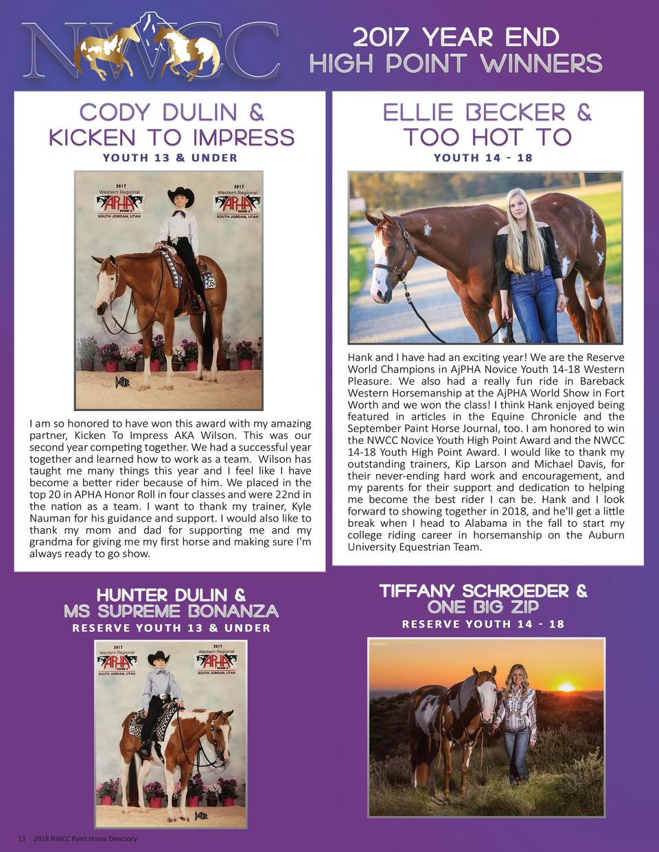 13  2018 NWCC Paint Horse Directory