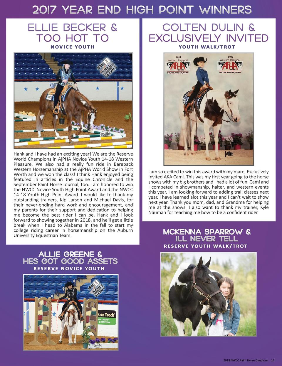 2018 NWCC Paint Horse Directory  14
