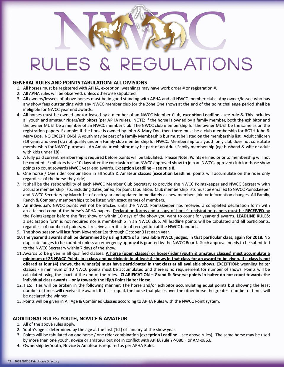 GENERAL RULES AND POINTS TABULATION  ALL DIVISIONS  1.  All horses must be registered with APHA, exception  weanlings may ...