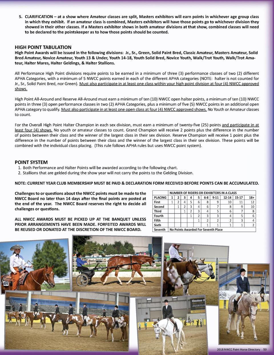 5.  CLARIFICATION     at a show where Amateur classes are split, Masters exhibitors will earn points in whichever age grou...