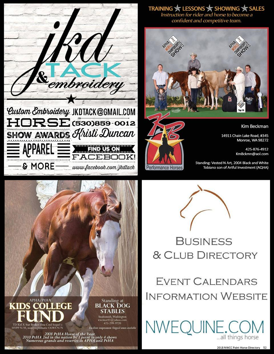 2018 2017 NWCC NWCC Paint Paint Horse Horse Directory Directory  52 52
