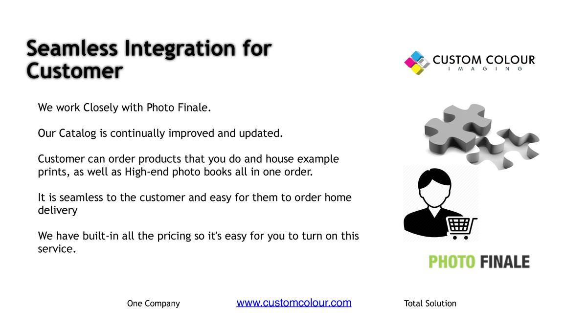 Seamless Integration for Customer     We work Closely with Photo Finale.     Our Catalog is continually improved and updat...