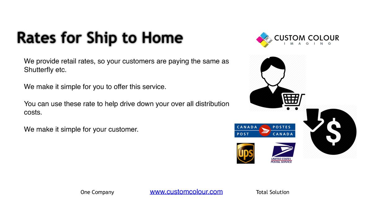 Rates for Ship to Home     We provide retail rates, so your customers are paying the same as Shutterfly etc.     We make i...