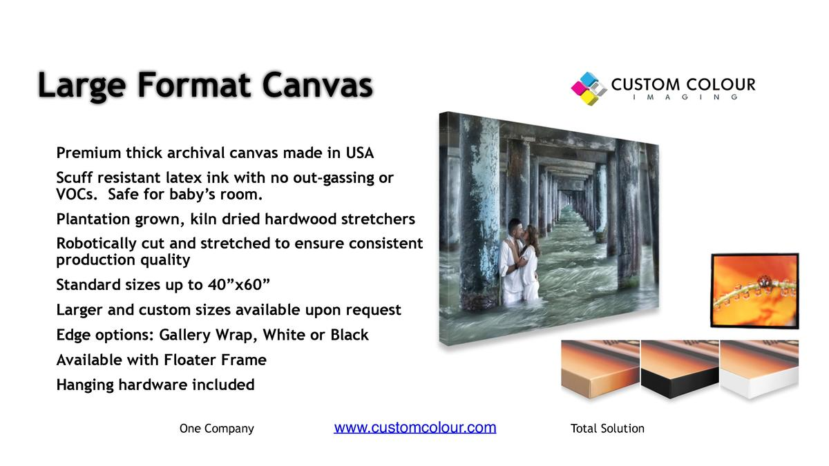 Large Format Canvas     Premium thick archival canvas made in USA     Scuff resistant latex ink with no out-gassing or VOC...