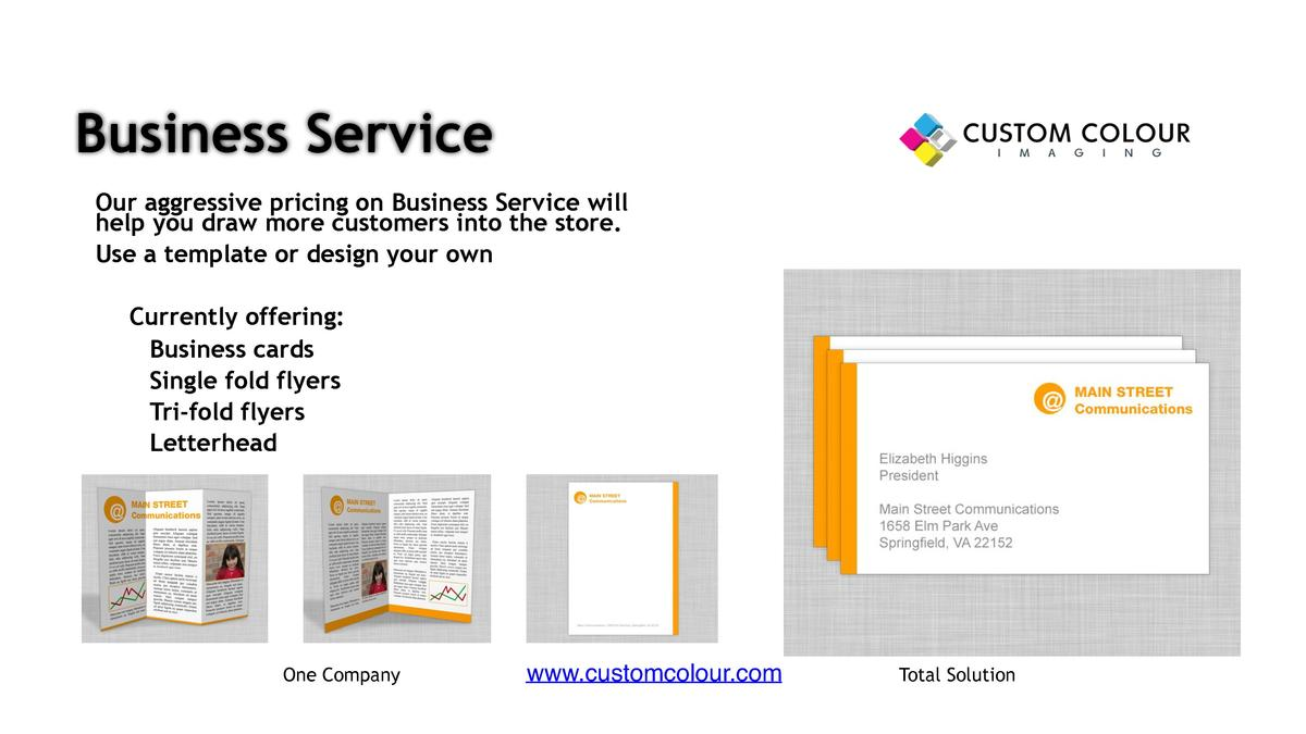 Business Service     Our aggressive pricing on Business Service will help you draw more customers into the store.     Use ...