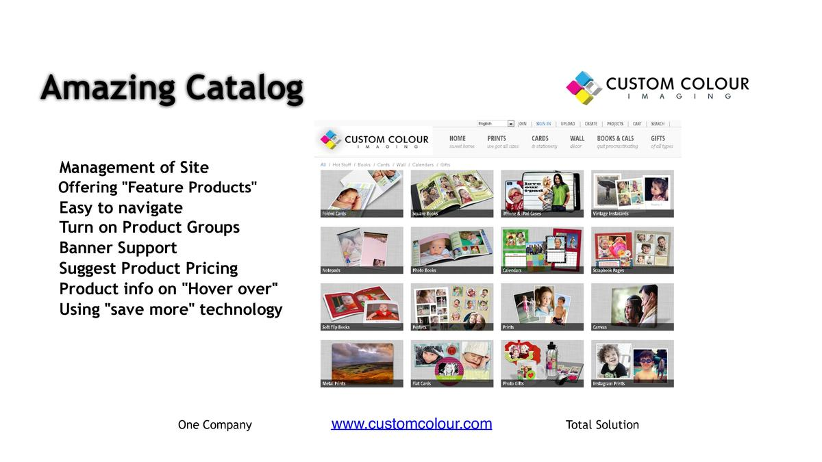 Amazing Catalog     Management of Site     Offering  Feature Products                            Easy to navigate Turn on ...