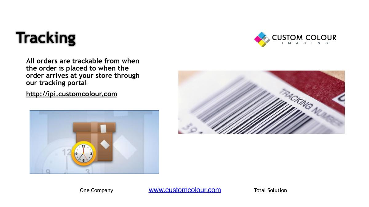 Tracking     All orders are trackable from when the order is placed to when the order arrives at your store through our tr...