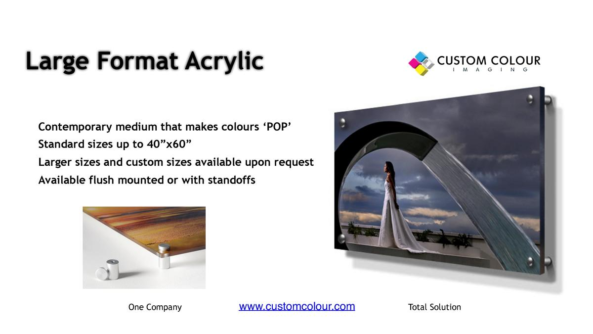 Large Format Acrylic     Contemporary medium that makes colours    POP        Standard sizes up to 40   x60        Larger ...