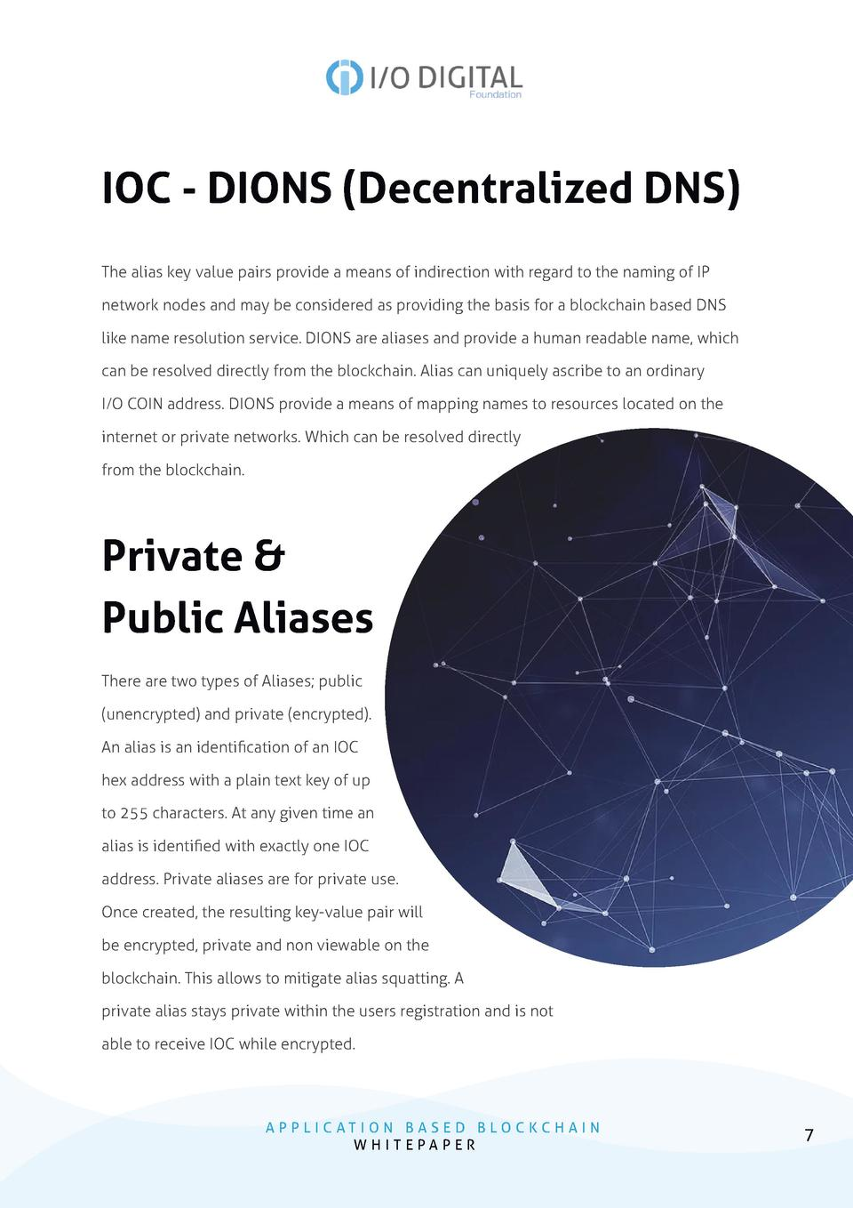 IOC - DIONS  Decentralized DNS  The alias key value pairs provide a means of indirection with regard to the naming of IP n...