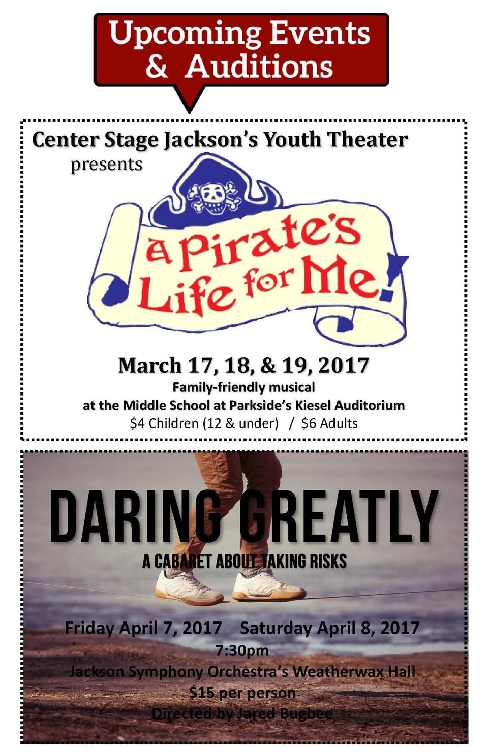 Center Stage Jackson   s Youth Theater presents  March 17, 18,   19, 2017 Family-friendly musical at the Middle School at ...