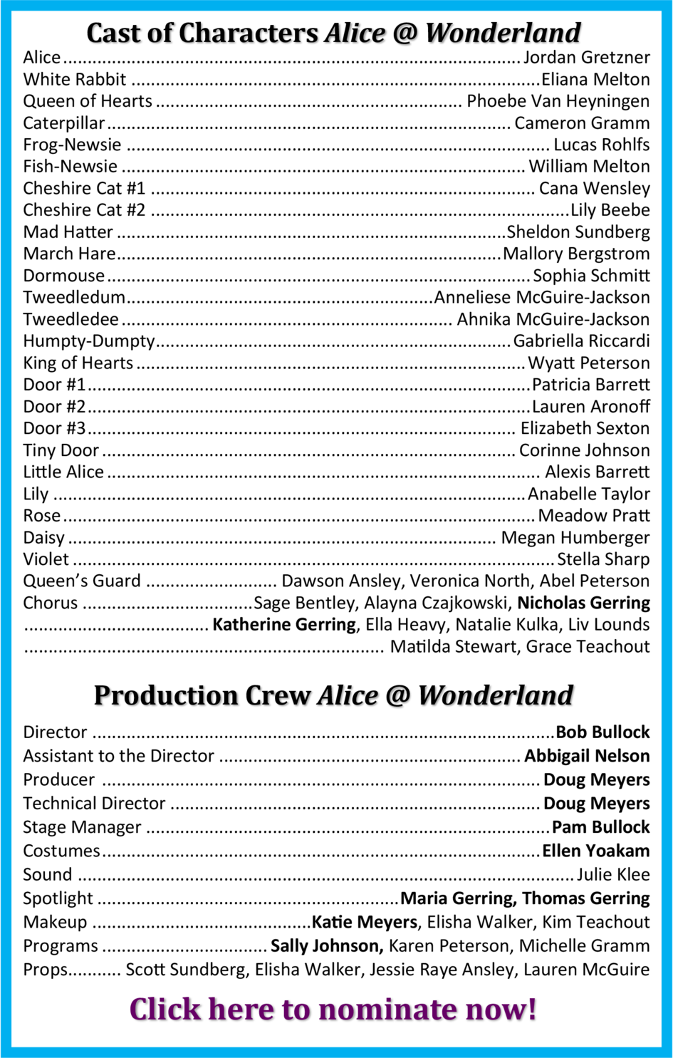 Cast of Characters  Alice   Wonderland Alice ................................................................................