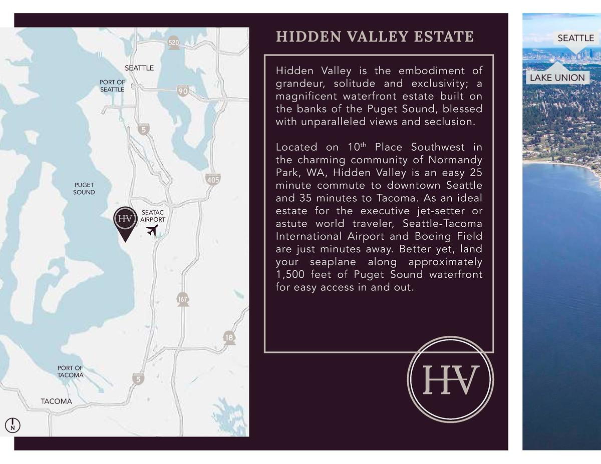 HIDDEN VALLEY ESTATE SEATTLE PORT OF SEATTLE  PUGET SOUND SEATAC AIRPORT  PORT OF TACOMA  TACOMA  N  Hidden Valley is the ...
