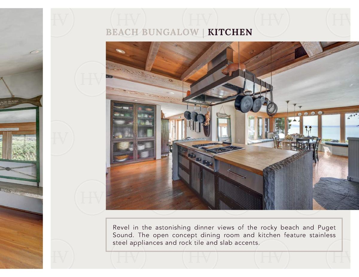 BEACH BUNGALOW   KITCHEN  Revel in the astonishing dinner views of the rocky beach and Puget Sound. The open concept dinin...