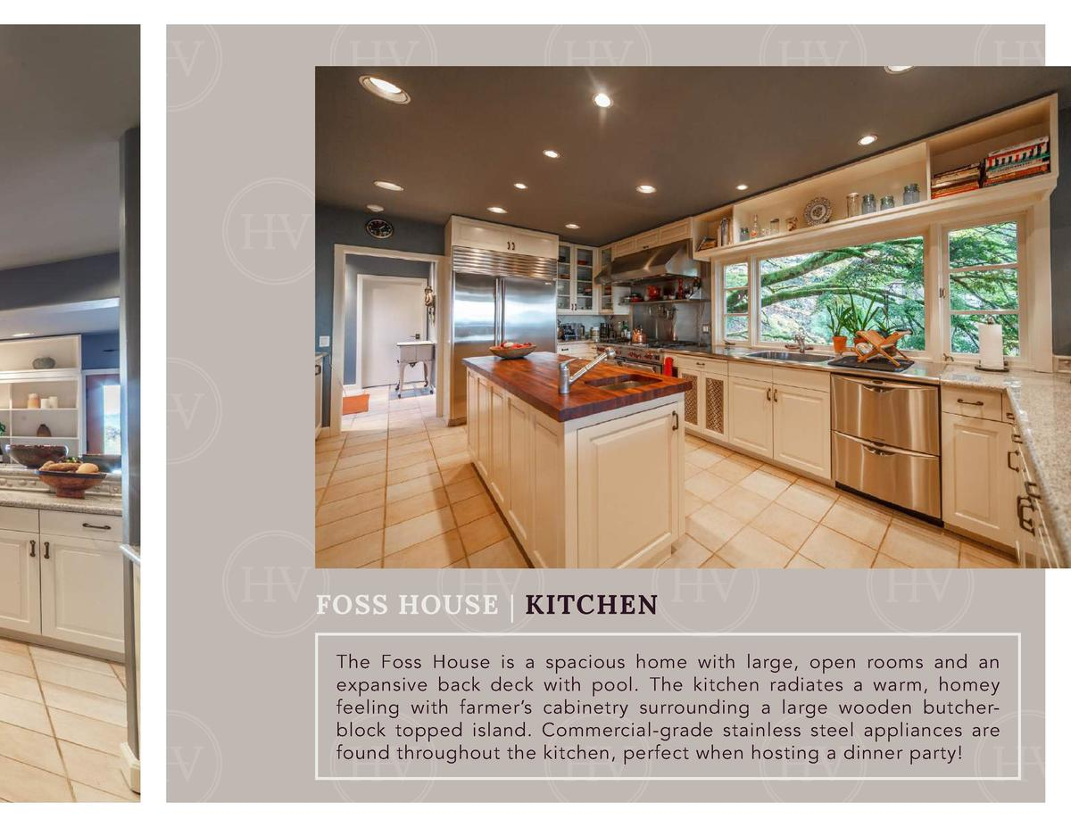 FOSS HOUSE   KITCHEN The Foss House is a spacious home with large, open rooms and an expansive back deck with pool. The ki...