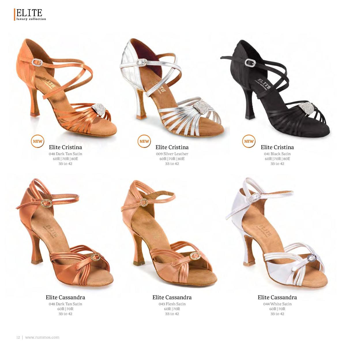 Elite Cristina  Elite Cristina  Elite Cristina  048 Dark Tan Satin 60R   70R   80E 33 to 42  009 Silver Leather 60R   70R ...