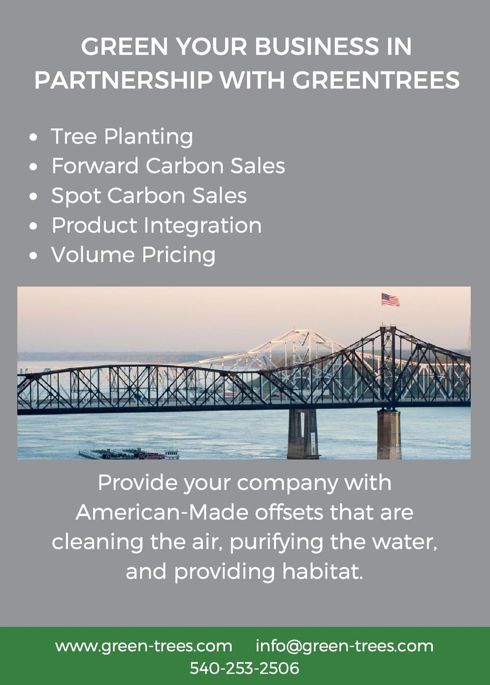 GREEN YOUR BUSINESS IN PARTNERSHIP WITH GREENTREES Tree Planting Forward Carbon Sales Spot Carbon Sales Product Integratio...