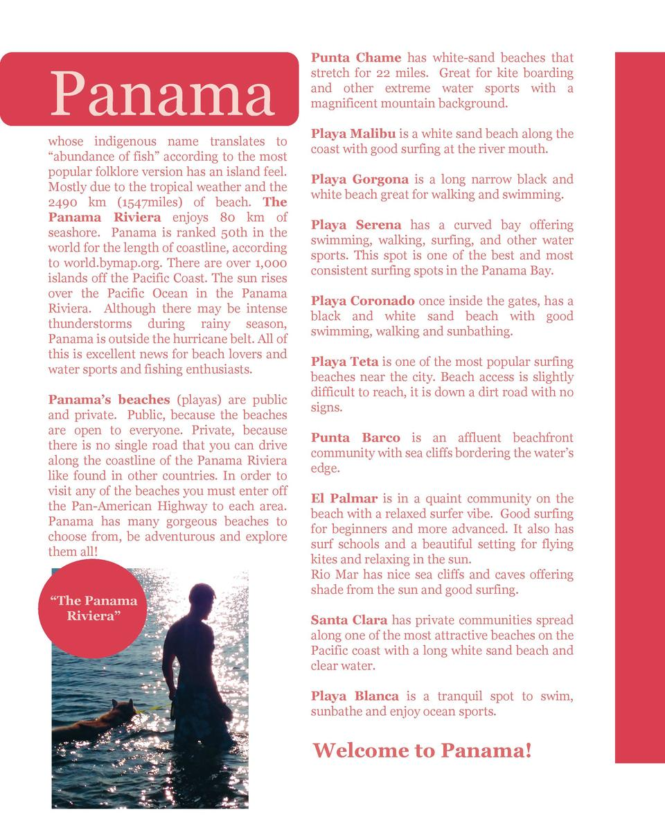 Panama  whose indigenous name translates to    abundance of fish    according to the most popular folklore version has an ...