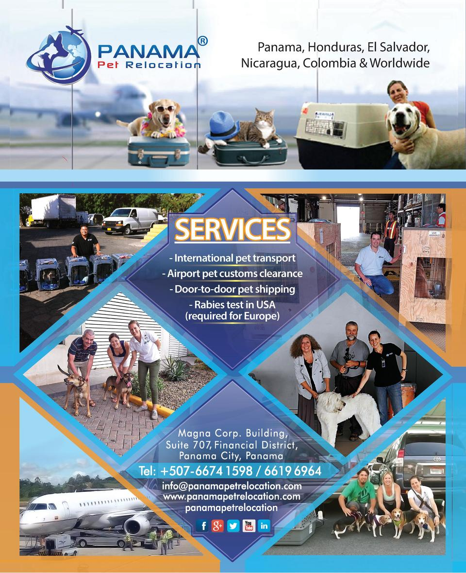 Panama, Honduras, El Salvador, Nicaragua, Colombia   Worldwide     SERVICES - International pet transport - Airport pe...