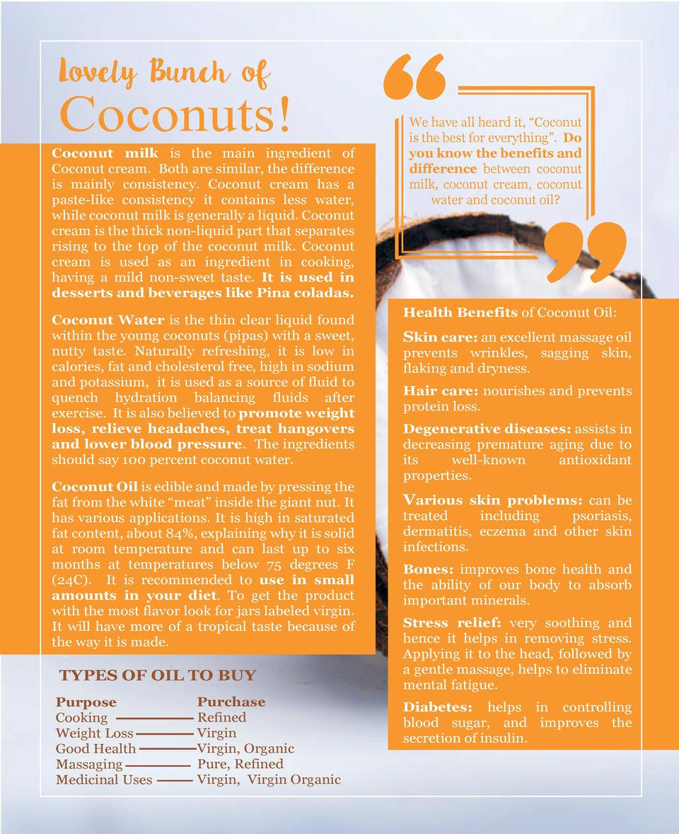 Lovely Bunch of  Coconuts  Coconut milk is the main ingredient of Coconut cream. Both are similar, the difference is mainl...