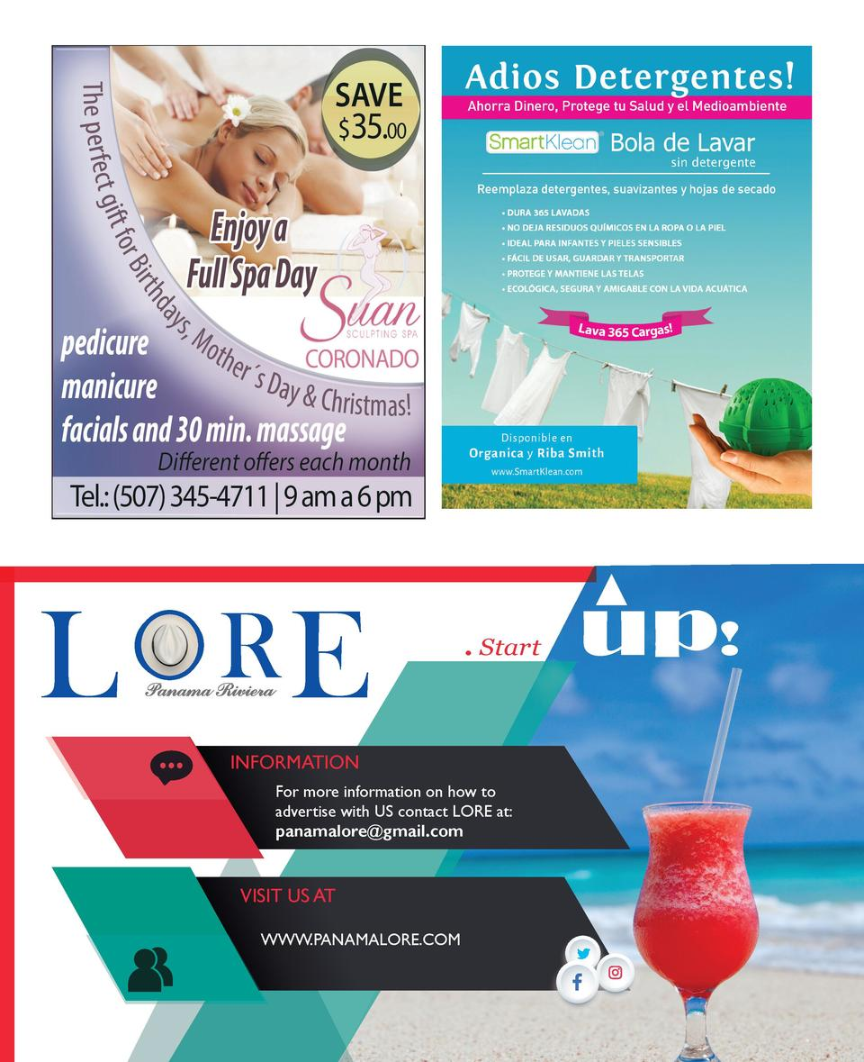 O OR L E  . Start  INFORMATION For more information on how to advertise with US contact LORE at  panamalore gmail.com  VIS...