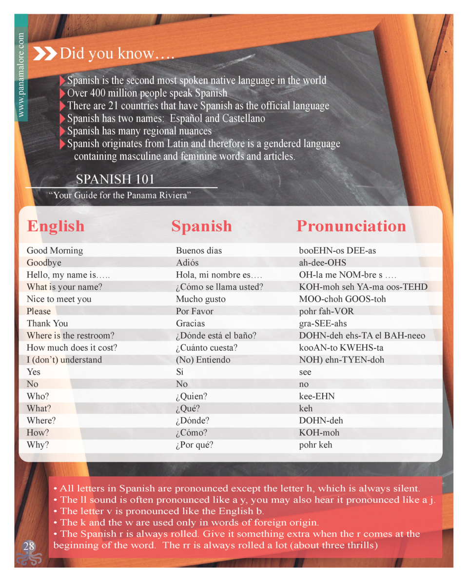 www.panamalore.com  Did you know   . - Spanish is the second most spoken native language in the world - Over 400 million p...