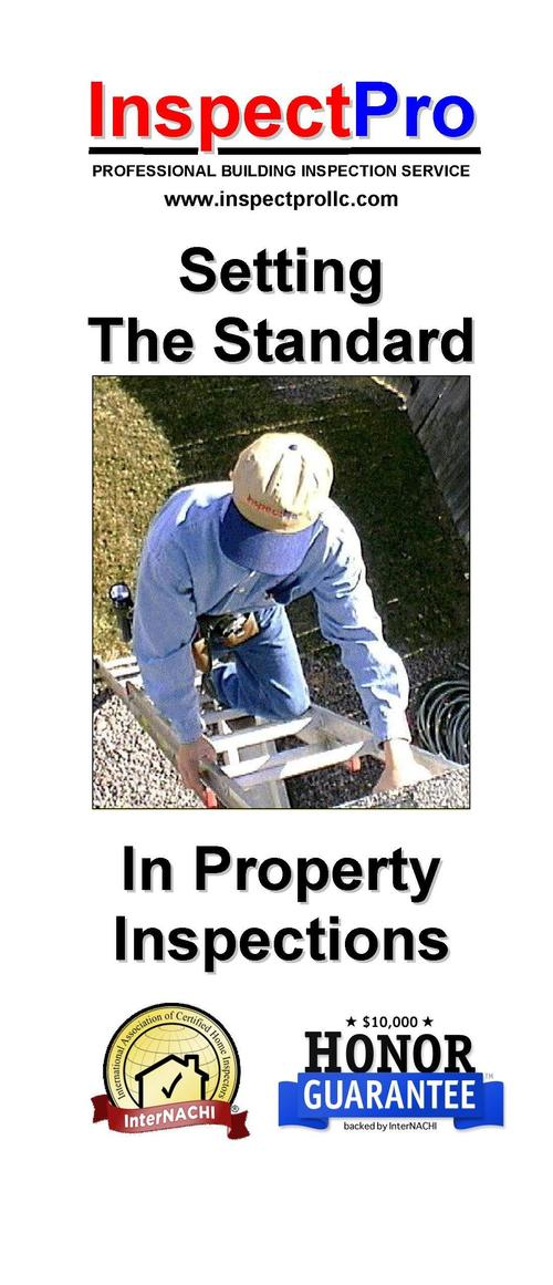 InspectPro PROFESSIONAL BUILDING INSPECTION SERVICE     Existing Home Inspections for Buyers and Sellers      Structural R...